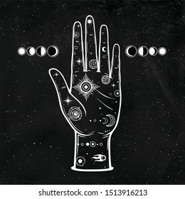 Mystical drawing: In the human hand is the universe: stars, comet, cosmic symbols. Alchemy, esoterics, chiromancy. Background - black star sky. Vector illustration. Print, poster, T-shirt, card.