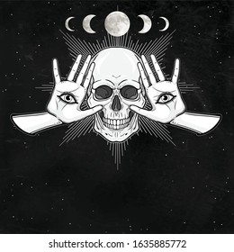 Mystical drawing: Human skull, women hands, all-seeing eye. Alchemy, magic, esoteric, occultism. Night star sky, moon phases. Monochrome vector illustration. Place for the text.