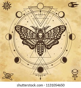 Mystical drawing: Moth Dead Head, circle of a phase of the moon. Sacred geometry.  Alchemy, magic, esoteric, occultism. Background - imitation of old paper. Vector Illustration.