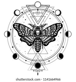 Mystical drawing: Moth Dead Head, circle of a phase of the moon. Sacred geometry.  Alchemy, magic, esoteric, occult. Vector illustration isolated on a white background. Print, poster, t-shirt, card.