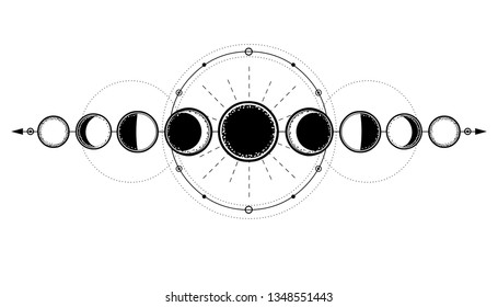 Mystical drawing: phases of the moon, energy circles. Sacred geometry. Alchemy, magic, esoteric, occultism. Monochrome Vector Illustration isolated on a white background.