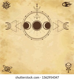 Mystical drawing: phases of the moon, energy circles. Sacred geometry. Space symbols. Alchemy, magic, esoteric, occultism. Background - imitation of old paper. Place for the text. Vector illustration.