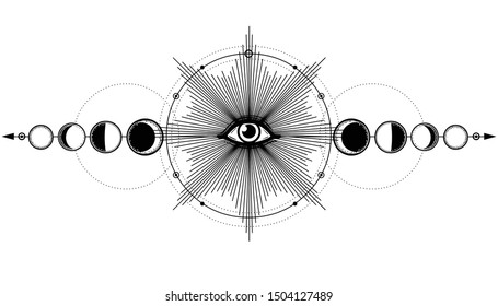 Mystical drawing: shining All-seeing eye,  phases of moon, energy circle. Alchemy, esoteric, occultism. Monochrome Vector Illustration isolated on a white background. Print, poster, T-shirt, card.
