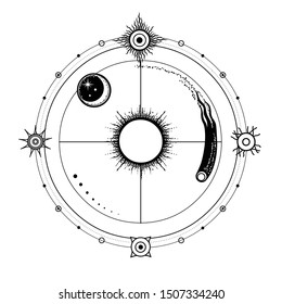 Mystical drawing: stylized Sun and moon, comet, energetic circles. Solar symbols. Alchemy, magic, esoteric, occultism. Monochrome Vector Illustration isolated on a white background. Print, T-shirt
