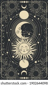 Mystical drawing of the sun with face, moon and crescent moon, background for a tarot card, magic boho illustration. Golden sun with closed eyes on a black background with stars, planets, moon. Vector