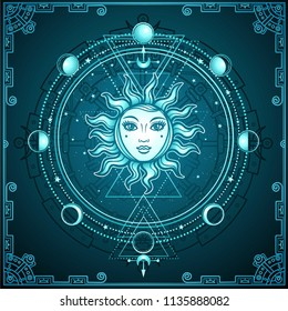 Mystical drawing: the sun with a human face, sacred geometry, phases of the moon. Esoteric, mysticism, occultism. Blue background, decorative frame. Vector illustration.