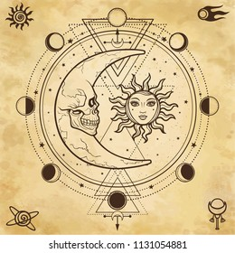 Mystical drawing: sun and  moon with human faces, circle of a phase of the moon. Sacred geometry. Alchemy, magic, esoteric, occultism. Background - imitation of old paper.  Vector Illustration.