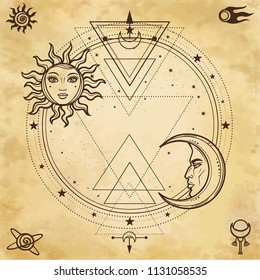 Mystical drawing: sun and  moon with human faces, a star circle. The place for the text. Sacred geometry. Background - imitation of old paper. Vector Illustration. Print, poster, t-shirt, card.