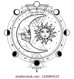 Mystical drawing: sun and  moon with human faces, circle of a phase of the moon. Sacred geometry. Alchemy, magic, esoteric, occultism. Vector illustration isolated on a white background.