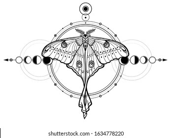 Mystical drawing: tropical butterfly, sacred geometry, moon phases, energy circles. Alchemy, magic, esoteric, occultism. Monochrome Vector Illustration isolated on a white background