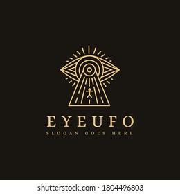 Mystical eye ufo lineart logo icon template on dark background