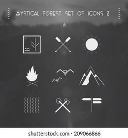 Mystical forest set of icons (hike)
