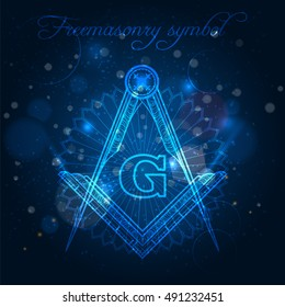 Mystical freemasony symbol on blue shining background vector illustration