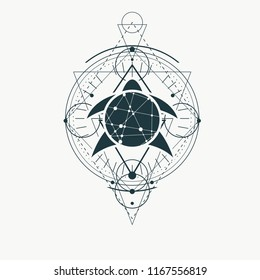 Mystical geometry symbol. Linear alchemy, occult, philosophical sign. Low poly turtle icon. For music album cover, poster, sacramental design. Astrology and religion concept.