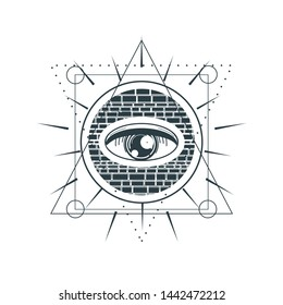 Mystical geometry symbol. Linear alchemy, occult, philosophical sign. For music album cover, poster, sacramental design. Astrology and religion concept.