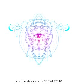 Mystical geometry symbol. Linear alchemy, occult, philosophical sign. Underbreast sacramental tattoo design. Astrology and religion concept. Beetle icon.