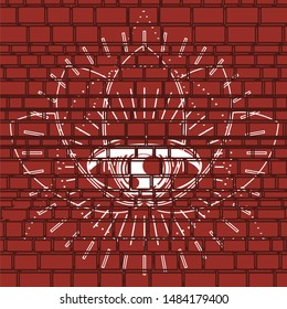 Mystical geometry symbol. Linear alchemy, occult, philosophical sign. For music album cover, poster, sacramental design. Astrology and religion concept. Graffiti on brick wall