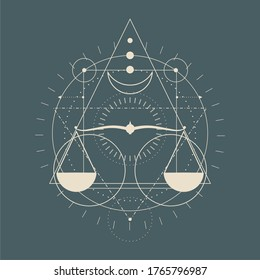 Mystical geometry symbol. Linear alchemy, occult, philosophical sign. For music album cover, poster, sacramental design. Astrology and religion concept. Vintage scales