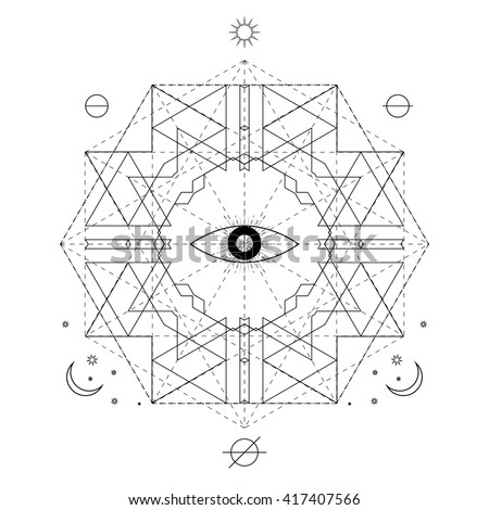 Mystical Geometry Symbol Linear Alchemy Occult Stock Vector Royalty