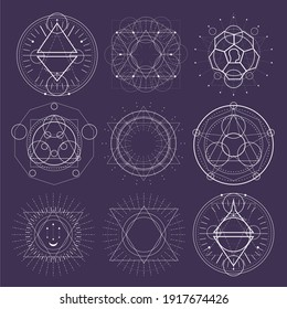 Mystical geometry symbols collection. Set of linear alchemy, occult, philosophical signs. For music album cover, poster, sacramental design. Astrology and religion concept.