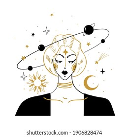 Mystical hand drawing in vintage style. Portrait of a girl with flying stars and planets around. The concept of meditation and balance, spiritual calmness. Vector illustration isolated on white