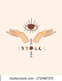 Mystical hand drawn illustrations. Moon Phase symbol, magic hands, evil eye elements. Occult Art concept.