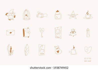 Mystical icons isolated vector set includes key, cup, book, crystal, candle,  herbs, cell, bottle, tarot cards