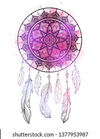 Mystical illustration of a dreamcatcher with a boho tracery pattern, feathers with purple watercolor splashes on white background. Vector magic tribal card for printing on t-shirt and your creativity.