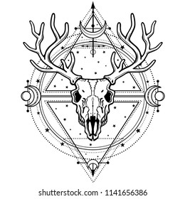 Mystical image of the  skull a horned deer, sacred geometry, symbols of the moon. Esoteric, paganism, occultism. Vector illustration isolated on a white background. Print, potser, t-shirt, card.