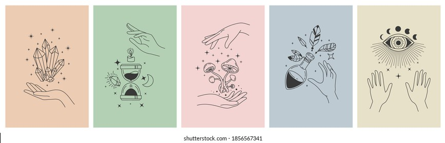 Mystical line hands. Minimalist esoteric moon, crystals, hourglass symbols for tattoo print. Boho astrology hand. Mystic app vector concept. Illustration tattoo boho, witchcraft esoteric banner sketch
