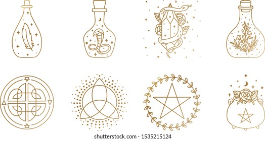 Mystical and Magic Logo Collection with Mason Jar, Snake, Cauldron, and Pentagram Symbol In Vector