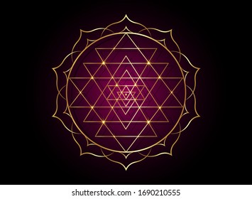 mystical mandala of Sri Yantra for your design. Golden sacred geometry and alchemy symbol blooming in a gold lotus flower, vector isolated on black and dark purple background