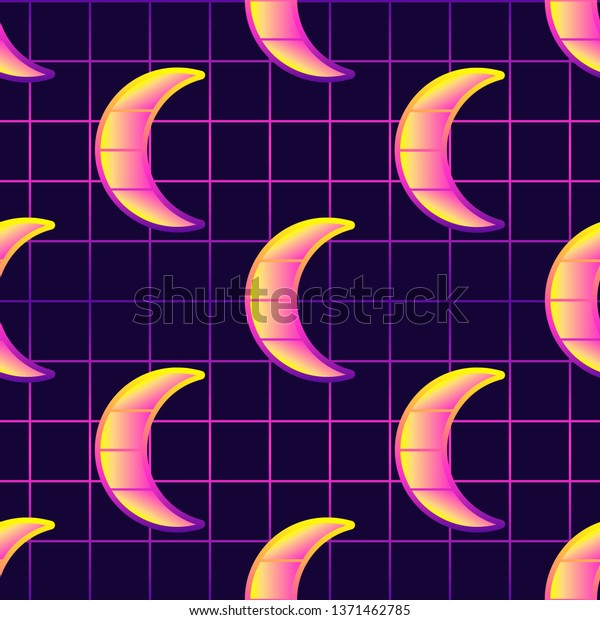 Mystical Neon Seamless Pattern Crescent Moons Stock Vector