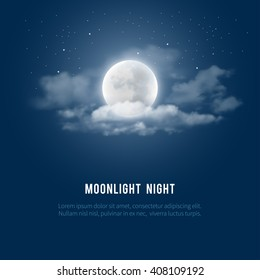 Mystical Night sky background with full moon, clouds and stars. Moonlight night. Vector illustration.