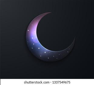 Mystical Night sky background with half moon. Moonlight night. paper graphic of islamic crescent moon. Islamic decoration. Ramadan Kareem. Crescent moon, starry sky.