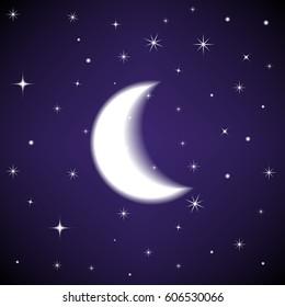 Mystical Night Sky Background Half Moon Stock Vector Royalty Free 606530066