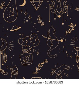 Mystical seamless background. Silhouettes of witch's potions in bottles and cats. Planets, space and stars. DooddlePattern design.  Hand-drawn. Esoteric symbols  and witchcraft.