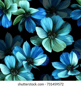 Mystical seamless pattern with beautiful blue flowers on a black background.