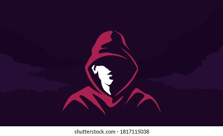 Mystical silhouette of acharacter in hoodie . Mysterious cyber hacker red sweatshirt in twilight criminal rapper with scornful smile criminal city districts and vector gangs.