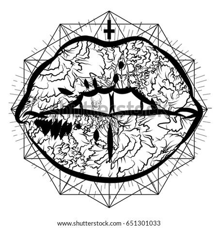 Mystical Tattoo Lips Dark Print Tattoo Stock Vector Royalty Free