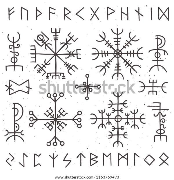 Mystical Viking Runes Ancient Pagan Talisman Stock Vector Royalty