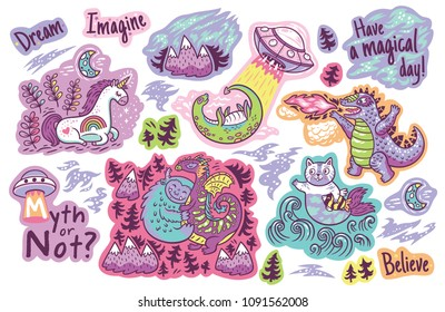 Myth or not. Big set of stickers with fantastic animals, cute monsters and phrases.