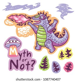 Myth or not. Vector stickers with Godzilla, trees and phrases. Vector illustration