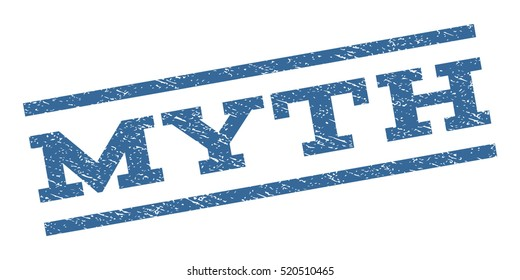 Myth watermark stamp. Text caption between parallel lines with grunge design style. Rubber seal stamp with scratched texture. Vector cobalt blue color ink imprint on a white background.
