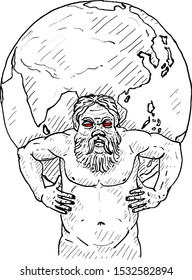 Mythical Atlas titan carries a globe on his shoulder. Hand drawn vector illustration.