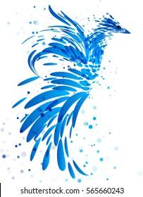 Mythical blue bird on white background