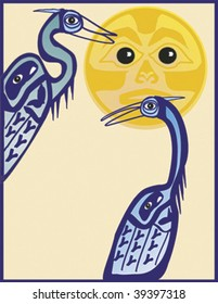 Mythical Cranes rendered in Northwest Coast Native style against iconic sun.