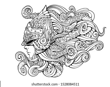 mythical creature, girl in a helmet with tentacles