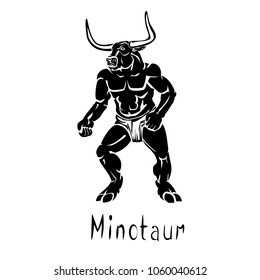 Mythical creature in Greek mythology Minotaur black vector illustration isolated on a transparent background