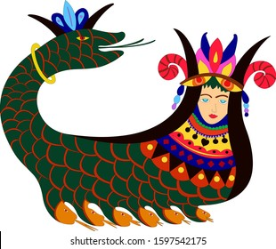The mythical creature Shahmaran (or Shah Maran - half woman and half snake) in bright colors. It is widely known in Iran, southeastern Anatolia and Iraq - Eps10 vector graphics and illustration